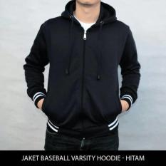 Jaket Sweater Polos Baseball Varsity Hoodie Unisex Hitam Diskon Akhir Tahun