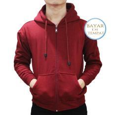 Review Terbaik Jaket Sweater Polos Hoodie Zipper Merah Maroon Unisex