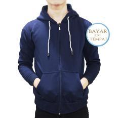 Toko Jaket Sweater Polos Hoodie Zipper Navy Blue Tali Putih Unisex Lengkap Jawa Barat
