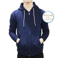 Beli Jaket Sweater Polos Hoodie Zipper Navy Blue Tali Putih Unisex Jawa Barat