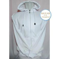 Jaket Sweater Polos Hoodie Zipper Putih Polos –Unisex