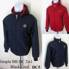 Jaket Pria Dc Bolak Balik Luar Dan Dalam - Hitam Dalam Merah