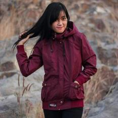 Jaket Taslan Hoodie Wanita Waterproof Maroon Oenzie Store Indonesia Diskon