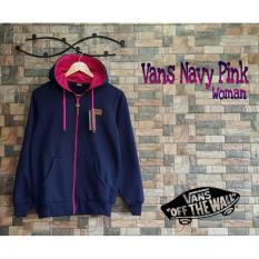 jaket wanita navy pink  sweater wanita fleece