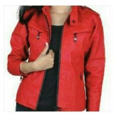 TJK Fashion Shop Jaket Wanita Semi Kulit  Jaket Cewe | Jaket Terbaru Harga Murah [ merah - resleting atas kanan kiri ]
