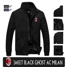 jaket waterproof ghost black ac milan