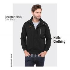 Jaket Windbreaker Neils Chester - Black - A663ea