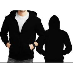 Diskon Jaket Sweater Hoodie Hitam Polos Zipper Jaket Pria Casual Outdoor Jaket Kemping Pria Cowok Jaket Polos Branded