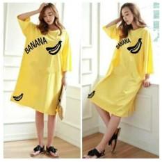 J&C Big Size Dress Banana Yellow / Baju Wanita Besar / Dress Ukuran Besar / Kaos XXL /