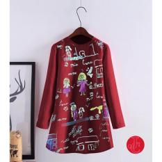 Promo J C Cartoon Shirt Maroon J C
