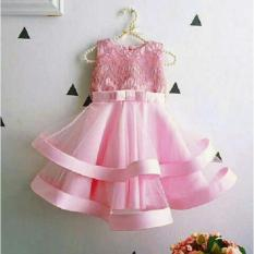 J&C Dress Giovany Kid Baby Pink / Gaun Pesta Anak / Baju Brukat Anak / Dress Brukat / Dress Anak / Mini Dress Anak / Midi Dress Anak / Baju Ulang Tahun Anak