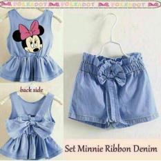J&C Setelan Minnie Ribbon Denim / Setelan Anak Perempuan / Mini Dress Anak / Midi Dress Anak / Setelan Denim Anak