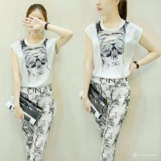 J&C Setelan White Cat / Setelan Wanita / Setelan Model Korea / Setelan Pendek / Kaos Wanita / T-Shirt Wanita / Stelan Babyteri / Celana Wanita
