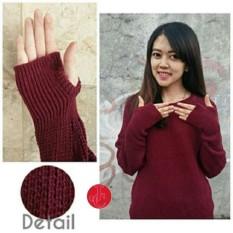 J&C Sweater Wanita Roundhand /Thumb Hand / Baju Hangat / Baju Tebal / Sweater Panjang / Kaos Sweater / Sweater Rajut