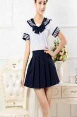 Gadis Sekolah Jepang Pakaian Baju Seragam Pelaut Kostum Cosplay Kostum (biru Laut) (International)