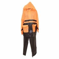 Jas Hujan Jaket Celana Twin Elephant Kombinasi Setelan Skotlet - Orange