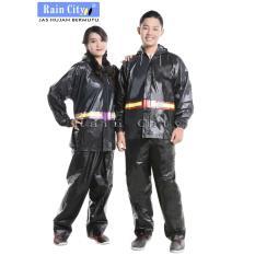 Jas Hujan Setelan Jaket Celana Rain Coat Pria Wanita Hitam