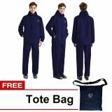 Model Jas Hujan Setelan Unisex Waterproof Raincoat Windproof Full Polyester Goretex Navy Blue Terbaru
