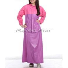 Jas Hujan Wanita Setelan Rok Mantel Keren Warna Ungu Pink Original Bandung