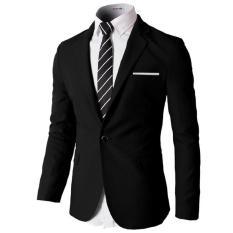 Jas Pria  Men's Stylish Slim Fit One Button - Hitam