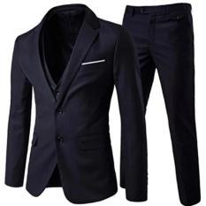 Jas Pria - Setelan Celana Dan Jas Formal Double Button - Hitam