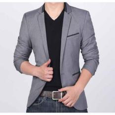 Harga Jas Pria Slimfit Blazer Kasual Pria Kancing Satu Saku Tiga List Hitam P 068 Abu Merk Jas Pria