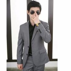 Jas Pria Terbaru Desain Blazer Pernikahan Jas Terkini -  Grey - Kode : JP4844c