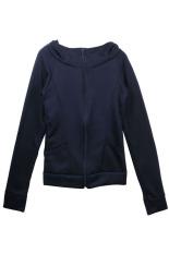 Jas Wanita Berkerudung Peluh Kemeja Jaket Sweater Membungkus Jari Lengan Baju Panjang (Biru)