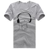 Harga Jasieter Kaos Pria Lengan Pendek Bahan Polyester Kerah Bulat Gaya Korea Headphone Abu Abu Terbaru