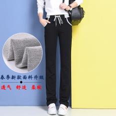 Harga Looesn Ditambah Beludru Tebal Tipis Siswa Berjalan Celana Kebugaran Celana Hitam Baju Wanita Celana Wanita Tiongkok