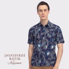 Jayashree Batik Kemeja Slimfit Kayana Navy Shortsleeve Pria Diskon Indonesia