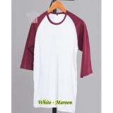 Penawaran Istimewa Jayasinar Kaos Polos Raglan 3 4 Pria Kombinasi Putih Maroon Terbaru
