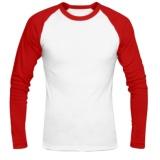 Toko Jayasinar Kaos Polos Raglan Pria Kombinasi Putih Merah Kaos