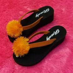 Sandal Spon Wanita Wedges Jepit Pom Pom Model Terbaru Murah-JY