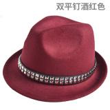 Beli Jazz Inggris Paku Keling Hitam Baru Topi Topi Topi Shuang Ping Kuku Anggur Merah Murah Tiongkok