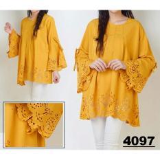 JC - Baju Big Size Wanita XXXL  Jumbo Salva Yellow Lasercut XXXL  Jumbo Size  Blouse Murah