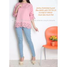 JC- Blouse Cantik Lasercut Pink  Blouse flower   Fashion Terbaru  Blouse Murah  Model Tangan Serut