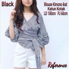JC- Blouse Wanita Kimono Kotak Kotak Black  Baju Terbaru  Harga Murah