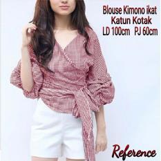 JC- Blouse Wanita Kimono Kotak Kotak Maroon  Baju Terbaru  Harga Murah