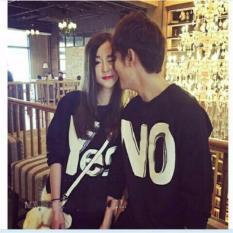 JC - Kaos Couple Yes NO Hitam Lengan Panjang  Kaos Murah