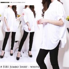JC - Kemeja Jumbo Polos Size Ukuran XXXL Warna Putih Fashion Wanita