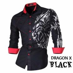 JC - Kemeja Pria Dragon X Hitam Merah  Kemeja Terbaru  Fashion Pria