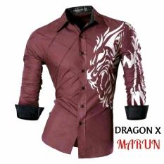 JC - Kemeja Pria Dragon X Maroon  Kemeja Terbaru  Fashion Pria