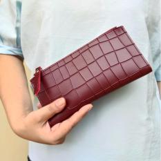 Spesifikasi Jcf Dompet Wanita Fashion Branded Pu Leather Import Lipat Bagus Dan Mewah Milla Red Maroon