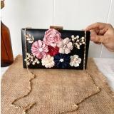 Diskon Jcf Tas Fashion Clutch Bunga Cantik Pesta Mewah Elegan Berkualitas Import Korean Style High Quality Black