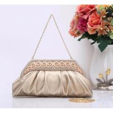 Jcf Tas Fashion Clutch Primerose Cantik Pesta Mewah Elegan Berkualitas Import Korean Style High Quality Gold Promo Beli 1 Gratis 1