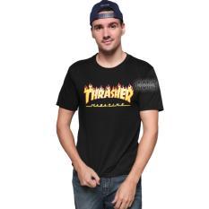 JCLOTHES Kaos Pria / Tumblr Tee / Kaos Cowo Fire Trasher - Hitam