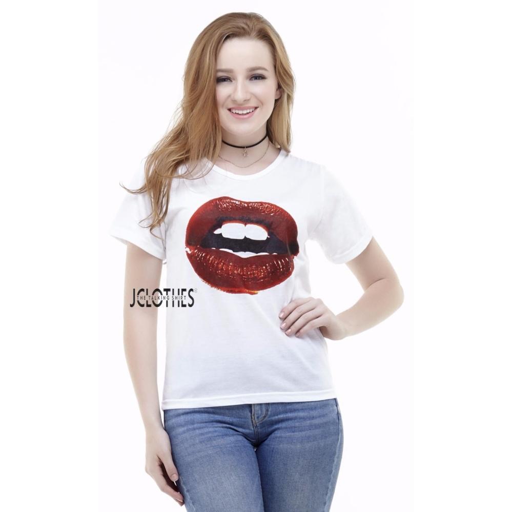 JCLOTHES Kaos Cewe / Tumblr Tee / Kaos Wanita Lips - Putih