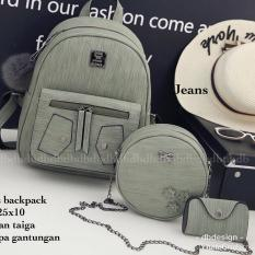 Tas BACKPACK/Ransel/TAS MINI BACKPACK/Tas Anak/Tas 3in1/Tas 4in1/TAS CROS BODY/TAS Drawstring backpack/Tas Messenger/Tas Chanel/Tas Dior/Tas FendI/Tas Louis Vuitton/Tas Prada/Tas Gucci/Tas murah JEANS 3PCS BACKPACK GREY