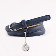 Jeans Buckle Circle Pendant Dekorasi Belt Pinggang-Navy Blue-Intl